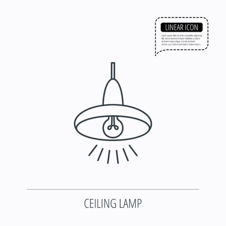 lamp outline: Ceiling lamp icon. Light illumination sign. Linear outline icon. Speech bubble of dotted line. Vector Illustration