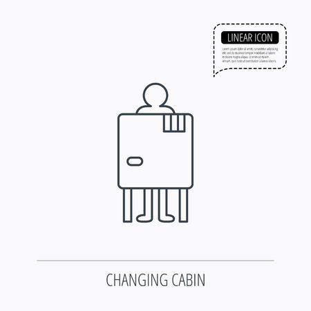 changing: Beach changing cabin icon. Human symbol. Linear outline icon. Speech bubble of dotted line. Vector