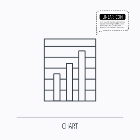 demand: Chart icon. Graph diagram sign. Demand growth symbol. Linear outline icon. Speech bubble of dotted line. Vector