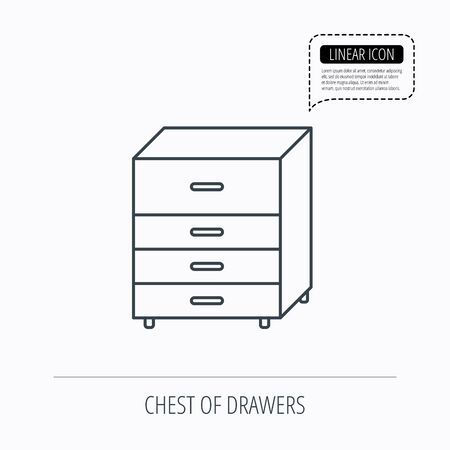 commode: Chest of drawers icon. Interior commode sign. Linear outline icon. Speech bubble of dotted line. Vector