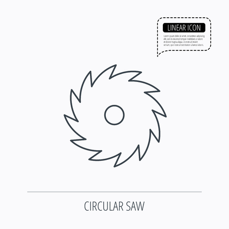 woodworking: Circular saw icon. Cutting disk sign. Woodworking sawblade symbol. Linear outline icon. Speech bubble of dotted line. Vector