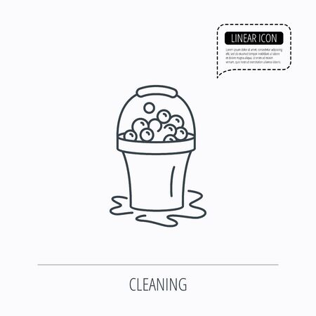 soapy: Soapy cleaning icon. Bucket with foam and bubbles sign. Linear outline icon. Speech bubble of dotted line. Vector