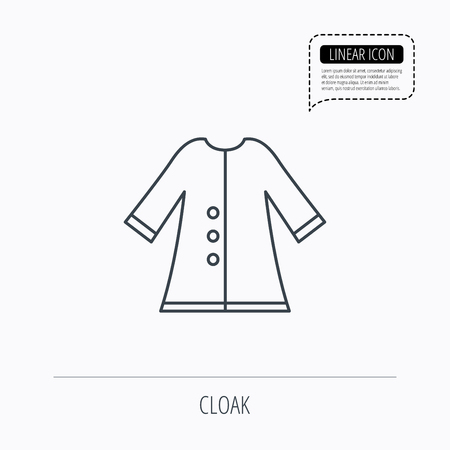 outerwear: Cloak icon. Protection jacket outerwear sign. Gardening clothes symbol. Linear outline icon. Speech bubble of dotted line. Vector Illustration