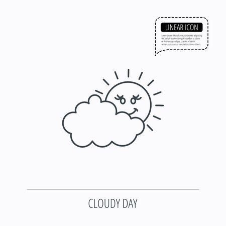 cloudy day: Cloudy day with sun icon. Overcast weather sign. Meteorology symbol. Linear outline icon. Speech bubble of dotted line. Vector