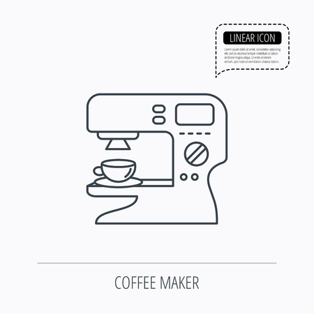 sign maker: Coffee maker icon. Hot drink machine sign. Linear outline icon. Speech bubble of dotted line. Vector Illustration