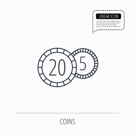 five cents: Coins icon. Cash money sign. Bank finance symbol. Twenty and five cents. Linear outline icon. Speech bubble of dotted line. Vector