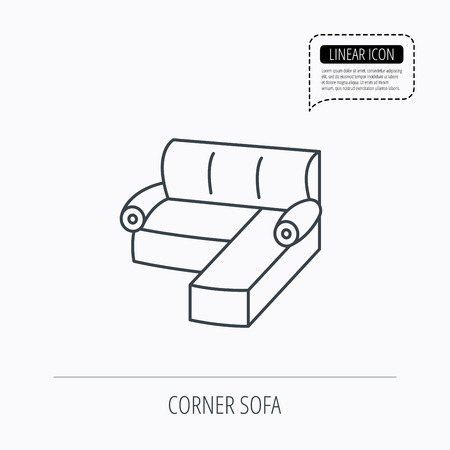 comfortable: Corner sofa icon. Comfortable couch sign. Furniture symbol. Linear outline icon. Speech bubble of dotted line. Vector