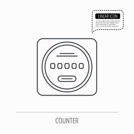 kilowatt: Electricity power counter icon. Measurement sign. Linear outline icon. Speech bubble of dotted line. Vector