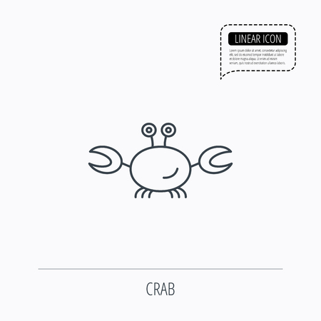 cancer crab: Crab icon. Cancer shellfish sign. Wildlife symbol. Linear outline icon. Speech bubble of dotted line. Vector