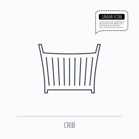 baby crib: Baby crib bed icon. Child cradle sign. Newborn sleeping cot symbol. Linear outline icon. Speech bubble of dotted line. Vector Illustration