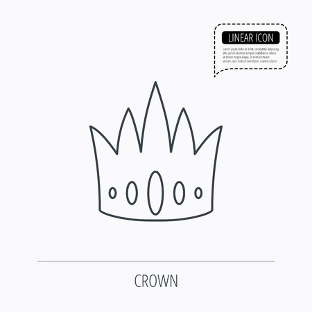 vip symbol: Crown icon. Royal king hat sign. VIP symbol. Linear outline icon. Speech bubble of dotted line. Vector Vectores