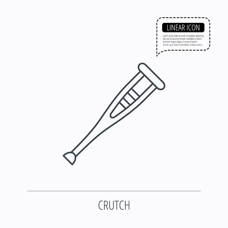 orthopedic: Crutch icon. Orthopedic therapy sign. Medical care equipment symbol. Linear outline icon. Speech bubble of dotted line. Vector