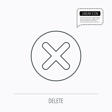delete icon: Delete icon. Decline or Remove sign. Cancel symbol. Linear outline icon. Speech bubble of dotted line. Vector