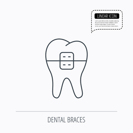 dental braces: Dental braces icon. Tooth healthcare sign. Orthodontic symbol. Linear outline icon. Speech bubble of dotted line. Vector