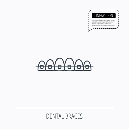 staples: Dental braces icon. Teeth healthcare sign. Orthodontic symbol. Linear outline icon. Speech bubble of dotted line. Vector