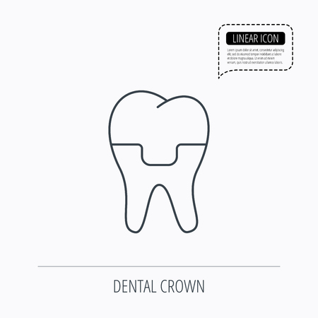 alumina: Dental crown icon. Tooth prosthesis sign. Linear outline icon. Speech bubble of dotted line. Vector
