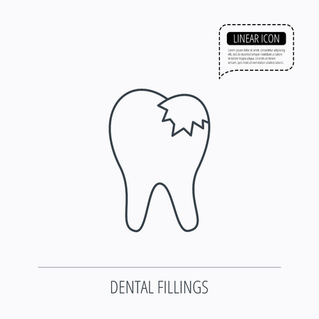 fillings: Dental fillings icon. Tooth restoration sign. Linear outline icon. Speech bubble of dotted line. Vector