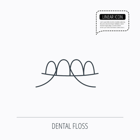 oral hygiene: Dental floss icon. Teeth cleaning sign. Oral hygiene symbol. Linear outline icon. Speech bubble of dotted line. Vector Illustration