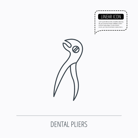 stomatological: Dental pliers icon. Stomatological forceps tool sign. Linear outline icon. Speech bubble of dotted line. Vector