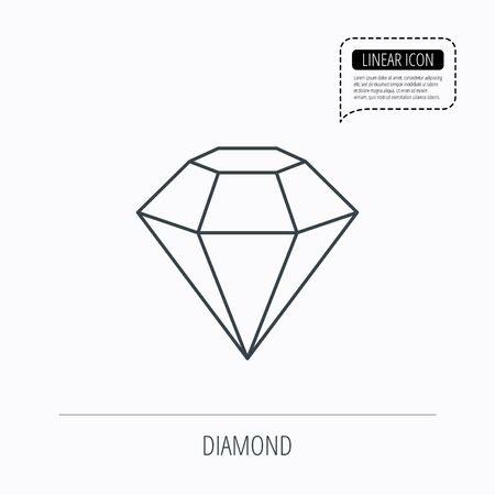 gemstone: Diamond icon. Brilliant gemstone sign. Linear outline icon. Speech bubble of dotted line. Vector