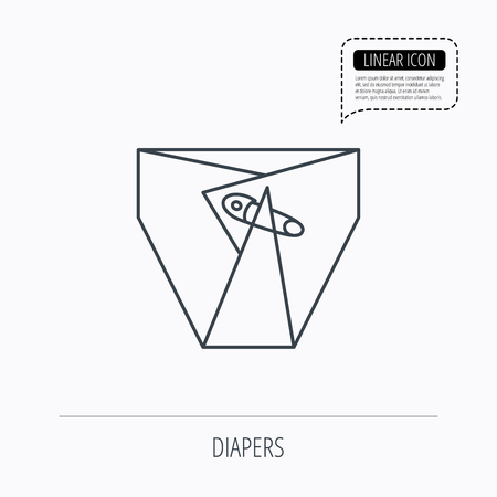 incontinence: Diaper with pin icon. Child underwear sign. Newborn protection symbol. Linear outline icon. Speech bubble of dotted line. Vector