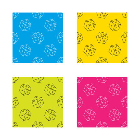 bet: Dice icon. Casino gaming tool sign. Winner bet symbol. Textures with icon. Seamless patterns set. Vector