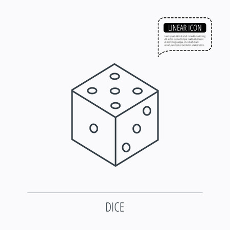 three dots: Dice icon. Casino gaming tool sign. Winner bet symbol. Linear outline icon. Speech bubble of dotted line. Vector