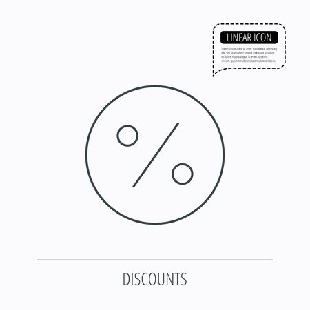 offer icon: Discount percent icon. Sale sign. Special offer symbol. Linear outline icon. Speech bubble of dotted line. Vector Illustration
