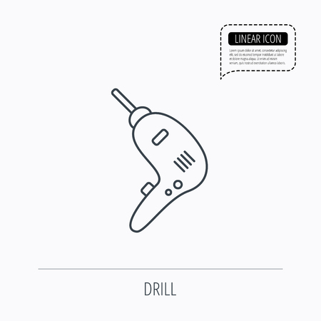 jackhammer: Drill tool icon. Electric jack-hammer sign. Linear outline icon. Speech bubble of dotted line. Vector