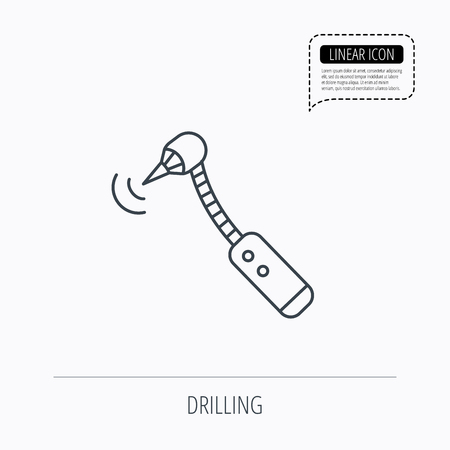 bur: Drilling tool icon. Dental oral bur sign. Linear outline icon. Speech bubble of dotted line. Vector Illustration
