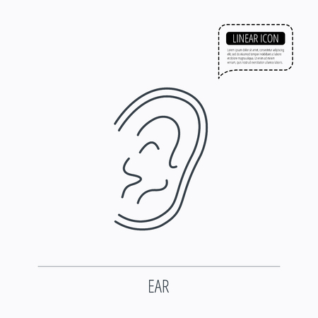 otorhinolaryngology: Ear icon. Hear or listen sign. Deaf human symbol. Linear outline icon. Speech bubble of dotted line. Vector