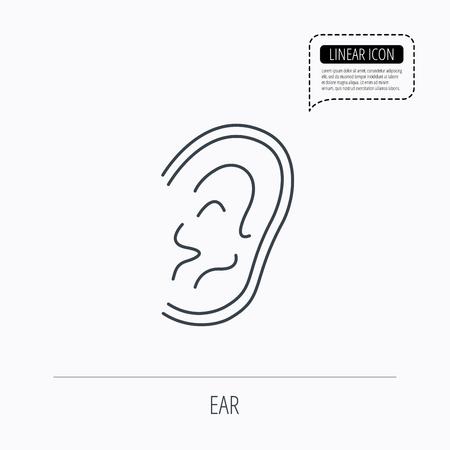 otorhinolaryngology: Ear icon. Hear or listen sign. Deaf human symbol. Linear outline icon. Speech bubble of dotted line. Vector