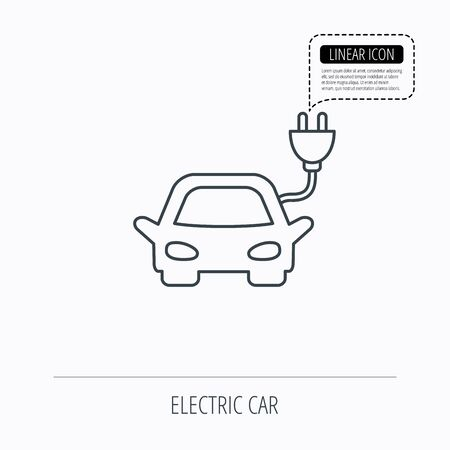 hybrid: Electric car icon. Hybrid auto transport sign. Linear outline icon. Speech bubble of dotted line. Vector Illustration