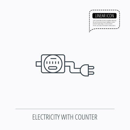 kilowatt: Electric counter icon. Electricity with plug sign. Linear outline icon. Speech bubble of dotted line. Vector