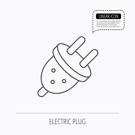 unplugged: Icono de enchufe el�ctrico. Signo socket Europea. Icono esquema lineal. Burbuja del discurso de la l�nea de puntos. Vector
