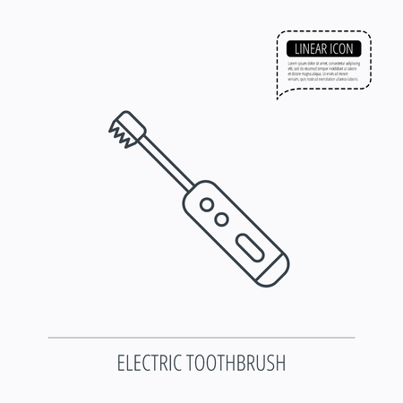 tooth cleaning: Electric toothbrush icon. Tooth cleaning sign. Linear outline icon. Speech bubble of dotted line. Vector
