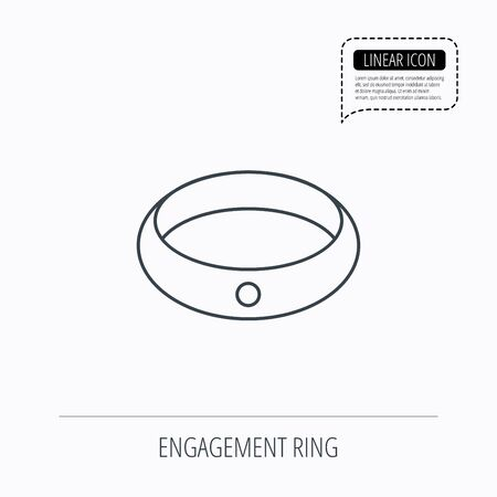 jewelery: Diamond engagement ring icon. Jewelery sign. Linear outline icon. Speech bubble of dotted line. Vector