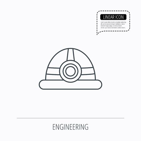 industrialist: Engineering icon. Engineer or worker helmet sign. Linear outline icon. Speech bubble of dotted line. Vector Illustration