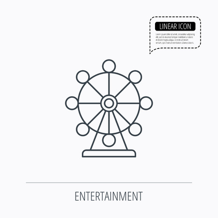 fair play: Ferris wheel icon. Entertainment park sign. Linear outline icon. Speech bubble of dotted line. Vector Illustration