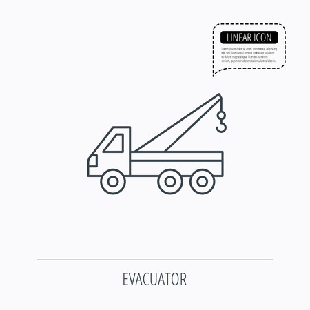 evacuate: Evacuator icon. Evacuate parking transport sign. Linear outline icon. Speech bubble of dotted line. Vector
