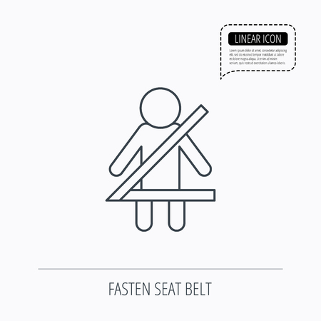 to fasten: Fasten seat belt icon. Human silhouette sign. Linear outline icon. Speech bubble of dotted line. Vector