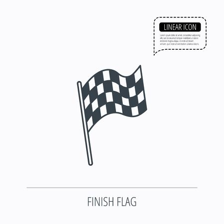 winning location: Finish flag icon. Start race sign. Linear outline icon. Speech bubble of dotted line. Vector Illustration