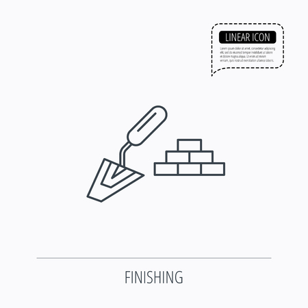 plaster wall: Finishing icon. Spatula with bricks sign. Linear outline icon. Speech bubble of dotted line. Vector Illustration