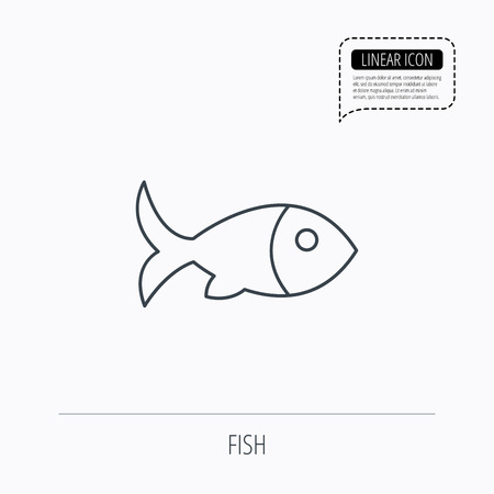 aquaculture: Fish with fin icon. Seafood sign. Vegetarian food symbol. Linear outline icon. Speech bubble of dotted line. Vector