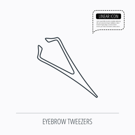 aesthetic: Eyebrow tweezers icon. Cosmetic equipment sign. Aesthetic beauty symbol. Linear outline icon. Speech bubble of dotted line. Vector
