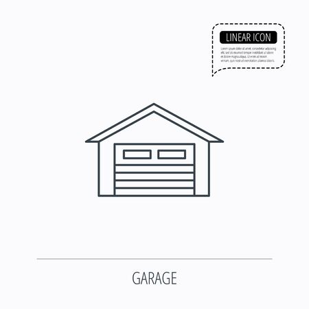 parking garage: Auto garage icon. Transport parking sign. Linear outline icon. Speech bubble of dotted line. Vector