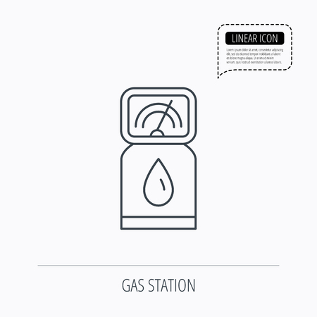 fuel pump: Gas station icon. Petrol fuel pump sign. Linear outline icon. Speech bubble of dotted line. Vector Illustration