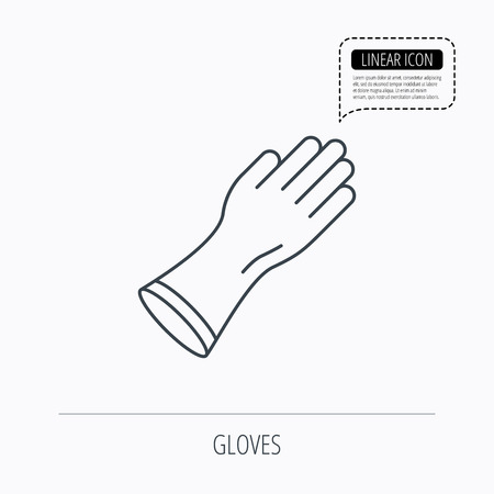 cleaning equipment: Rubber gloves icon. Latex hand protection sign. Housework cleaning equipment symbol. Linear outline icon. Speech bubble of dotted line. Vector