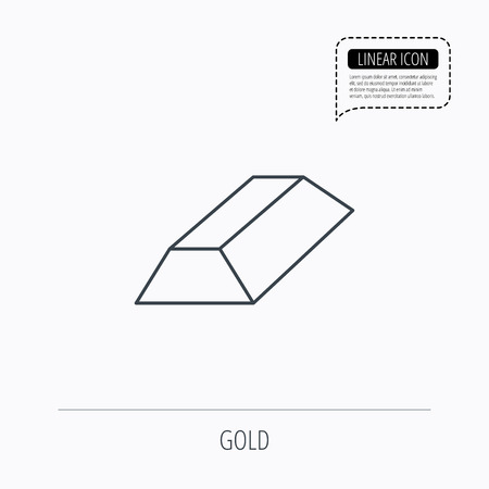 gold bar: Gold bar icon. Banking treasure sign. Linear outline icon. Speech bubble of dotted line. Vector