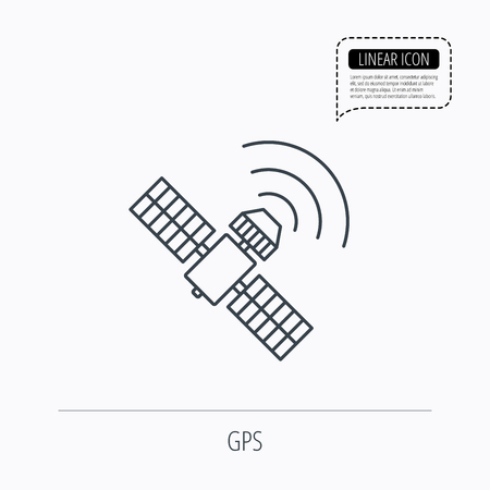 satellite navigation: GPS icon. Satellite navigation sign. Linear outline icon. Speech bubble of dotted line. Vector